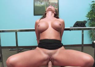 Sexy office slut Destiny Dixon fucking the large cock boss