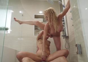 Wet shower threesome with a hot milf and a naughty juvenile slut