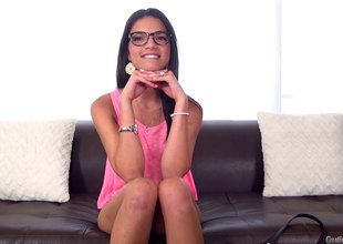 Nerdy, but very hawt amateur girl has her first on camera fuck