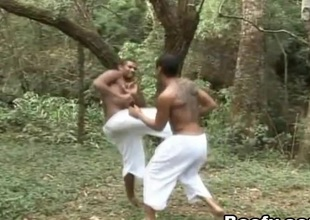 Tattooed black guy gets wazoo fucked by his sparring partner