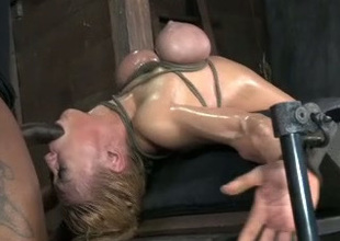 This helpless blonde whore is getting face fucked like at no time in advance of