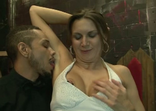 Breasty lady in white dress lures black dude to suck his delightful prick