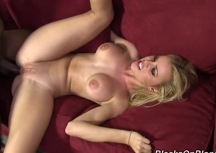 Busty blonde in pink straps gets ass fucked by black guy