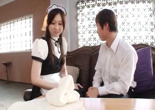 Crafty Japanese sex doll moans while being nailed doggy style