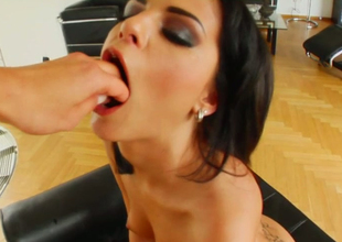 Dissolute bitch Angelica sucks a toy before getting a dick in her mouth