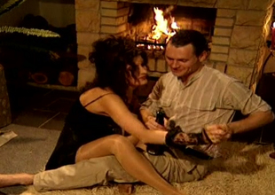 Sexy as fire brunette hair mommy Alison  sucks sugary cock near the fireplace