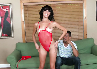 Latin Binky Bangs is curious about oral sex with hard cocked guy Brannon Rhodes