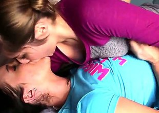 Dark brown Lia Lor and Ashli Orion scream in lesbo ecstasy