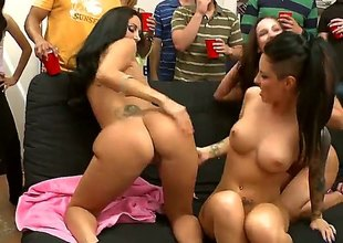 Brunette Jada Stevens with large booty and shaved snatch suggests her snatch to lesbian Ava Addams