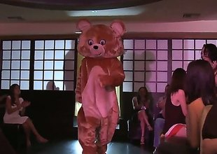 Girls of all kinds got jointly at a party for some insane orgy with their male stripper dressed as a teddy bear. From barely Eighteen to really hot milfs, theyll all enjoy.