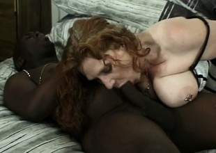 Cheating chubby whore cheats on her stud with a huge black bone