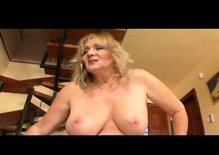 Plumper old golden-haired whore wants more and takes it in her fat gazoo