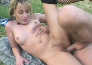 Good palatable beauty named Christie Lee is taken outdoors and banged hard