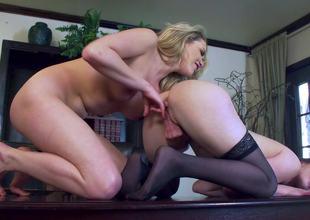 Casey Calvert bonks sexy lesbian Mia Malkova at work