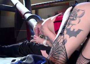 A blonde that has a nice booty is getting her wet pussy licked