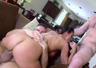 Two fit dudes give Rachel Starr the threesome of her life