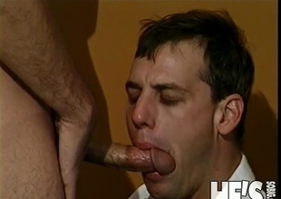 Some people get nervous in Job Interviews...and some don't. I think it's clear that in this scene, our Interviewer is more nervous then the Interviewee as he pulls his dong out and starts to engulf on it. I guess he really wants this job! That guy then proceeds t