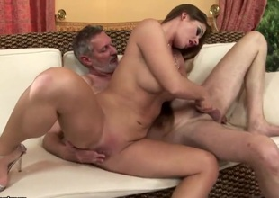 Teen Cathy Heaven has priceless screw with old man