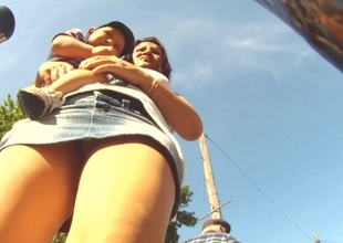 Hot upskirt views caught on the street with sexy women