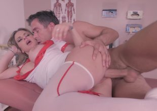 A sexy nurse is getting on her knees to give a blow job to a patient